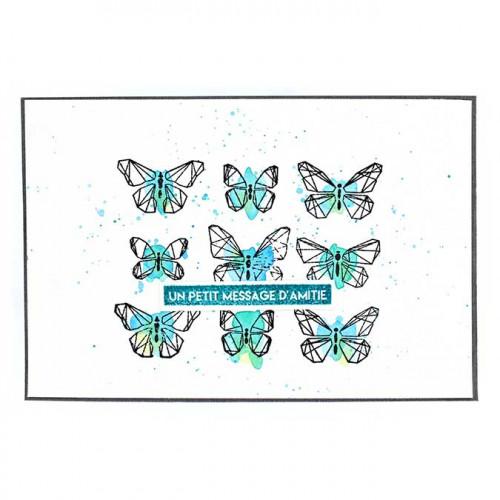 Capsule Août 2017 - Tampon bois - Papillons graphiques - 10 x 8 cm