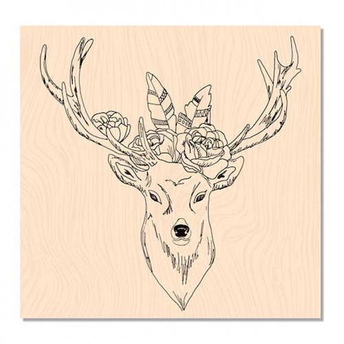 Douceur Hivernale - Tampon bois Cerf Boho chic - 8 x 8 cm