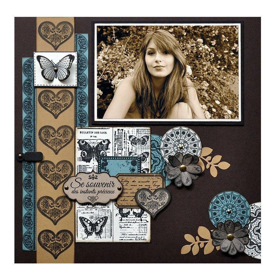 Chiffons & Dentelles - Tampon bois - Tag au papillon - 6 x 15 cm