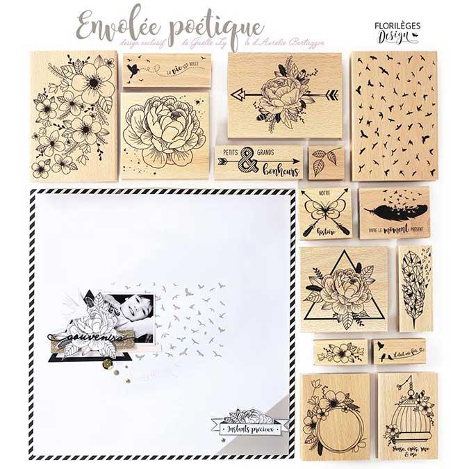 Envolée poétique - Tampon Bois - Oiseaux Origami - 10 x 13 cm