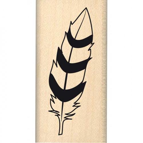 Dakota Valley - Tampon Bois - Plume bicolore - 3 x 6 cm