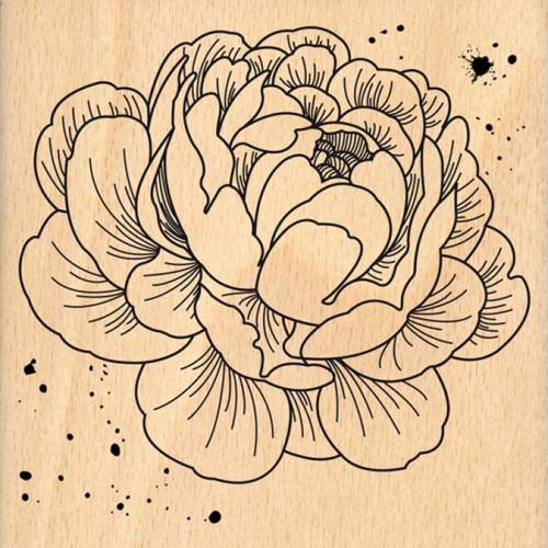 Envolée poétique - Tampon Bois - Pivoine - 10 x 10 cm