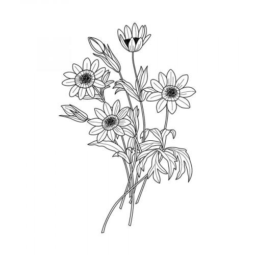 Tampon bois Anémone - 4 x 5 cm