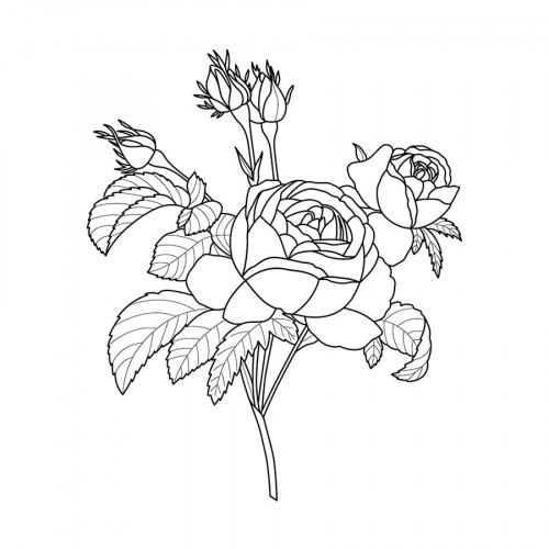 Tampon bois Roses - 5 x 6 cm