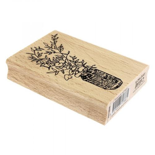 Tampon bois Bouquet de feuillages - 7 x 10 cm