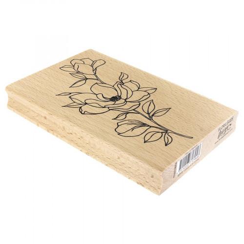 Tampon bois Fleur et boutons - 10 x 15 cm