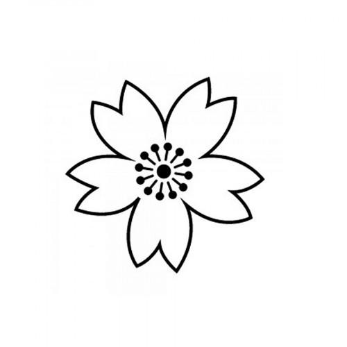 Tampon bois Fleur (négatif) - 2 x 2 cm