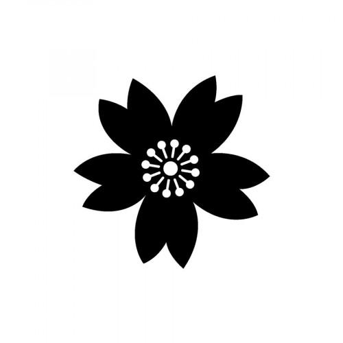 Tampon bois Fleur (positif) - 2 x 2 cm