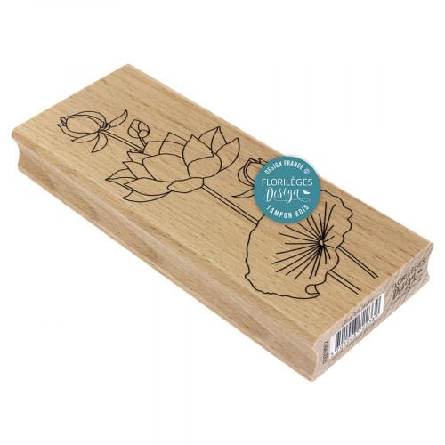 Tampon bois Lotus à la feuille - 6 x 15 cm