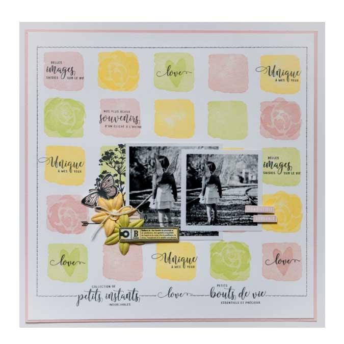 Hello Watercolor - Tampon Bois - Bouquet fondu - 4 x 10 cm