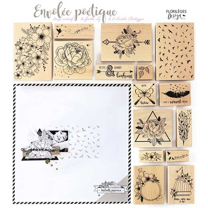 Envolée poétique - Tampon Bois - Jolie couronne - 8 x 10 cm
