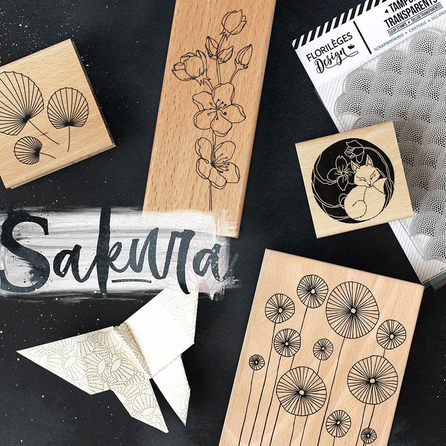 Tampon bois Branche Sakura - 6 x 15 cm