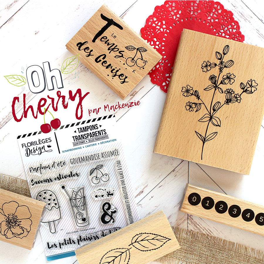 Tampon bois Cherry - 6 x 6 cm
