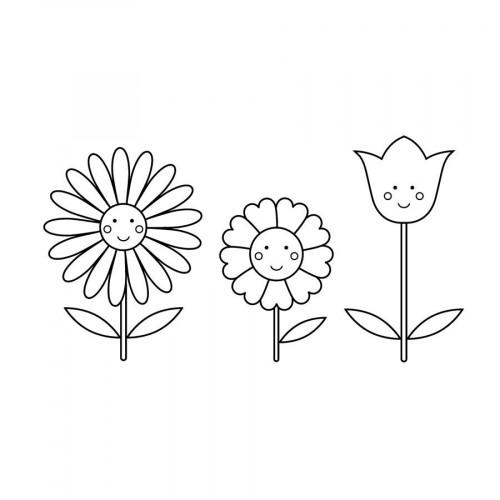 Tampon bois - Adorable - Fleurs - 4 x 7 cm
