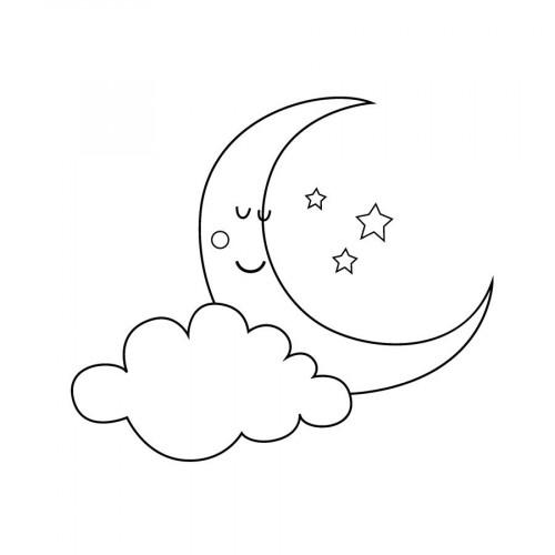 Tampon bois - Adorable - Lune - 4 x 6 cm