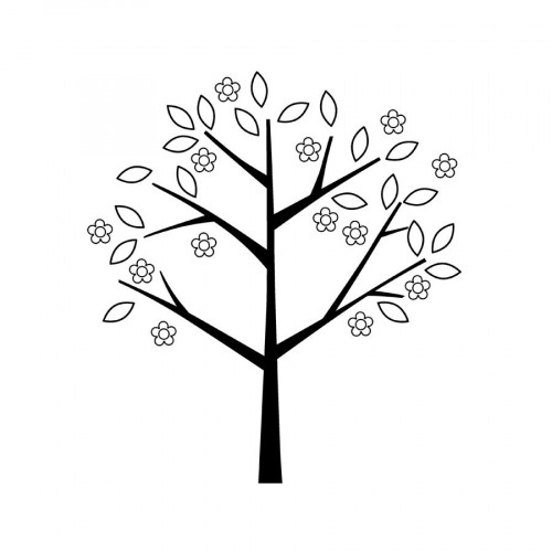 Tampon bois - Adorable - Arbre - 6 x 7 cm