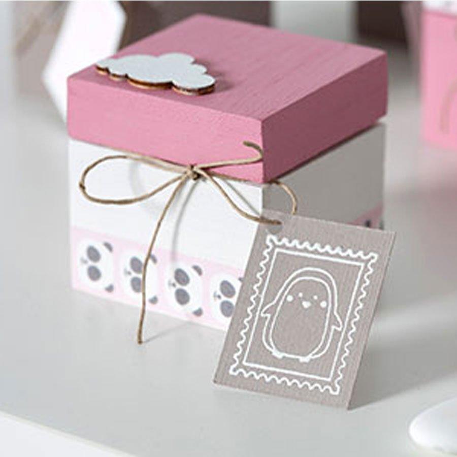 Tampon bois - Adorable - Souris ballon - 3 x 6 cm