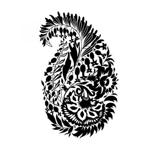 Tampon bois  - Paisley  - Flower Power - 5,8 x 8,7 cm