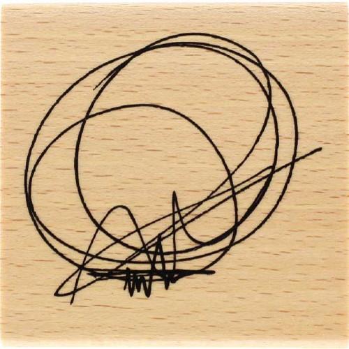 Capsule Septembre 2017 - Tampon bois - Cercle gribouillis - 6 x 6 cm