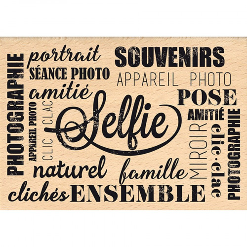 Instants Selfie - Tampon bois - Pose Selfie - 7 x 10 cm