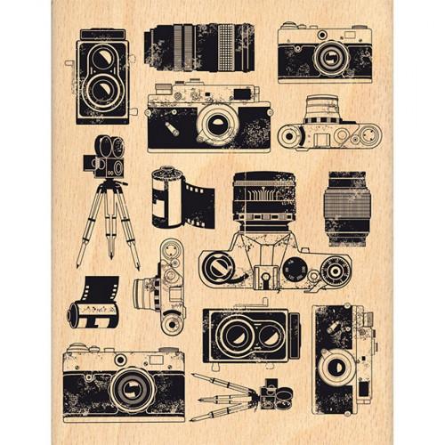 Instants Selfie - Tampon bois - Fond photographique - 10 x 13 cm