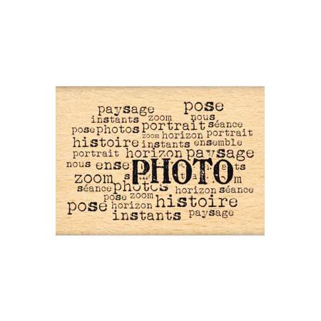Tampon Bois Texte photo - 6.3 x 3.9 cm