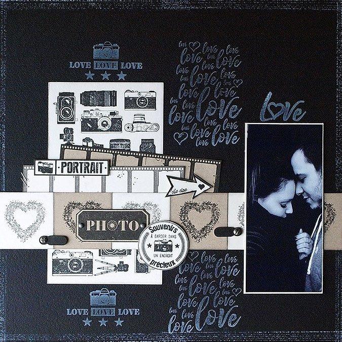 Instants Selfie - Tampon bois - Totally Love - 7 x 10 cm