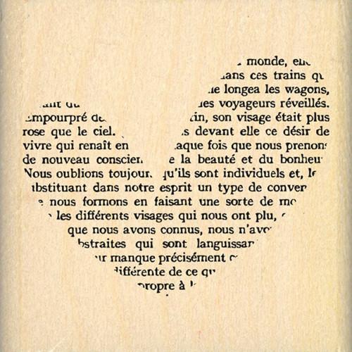 Capsule Mai 2016 - Tampon bois - Cœur petit texte - 5 x 5 cm