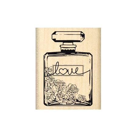 Shabby Fleuri - Tampon Bois - Bouteille de parfum love - 3 x 4,5 cm