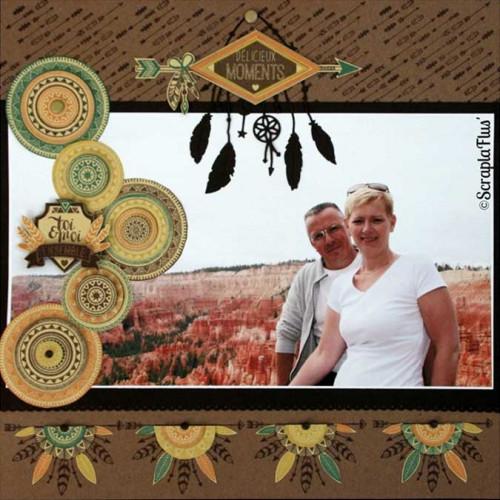 Dakota Valley - Tampon Bois - Coeur perlé - 6 x 6 cm