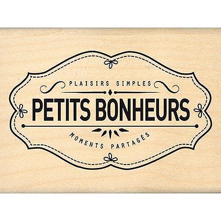 Border Line - Tampon Bois - Plaisirs Bonheurs Moments - 7.2 x 4.1 cm