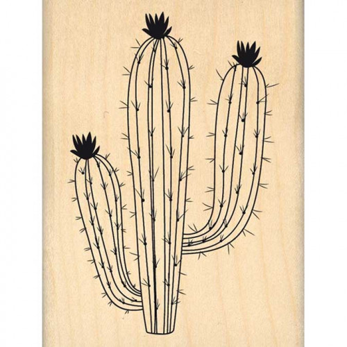 Dakota Valley - Tampon Bois - Grand cactus - 6 x 8 cm