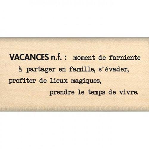 Evasion estivale - Tampon Bois - Définition Vacances - 3 x 6 cm