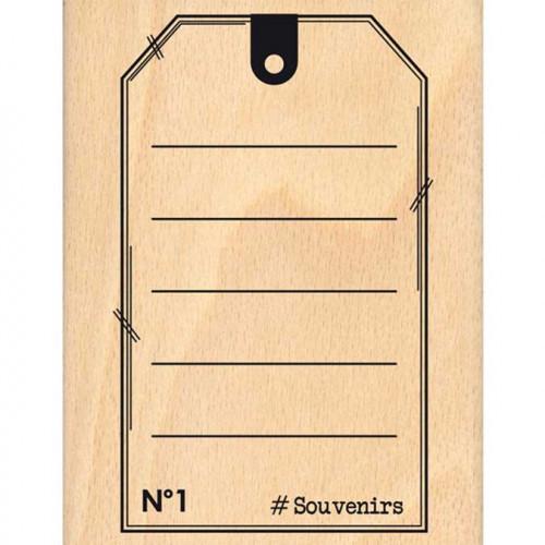 Evasion estivale - Tampon Bois - Tag Souvenirs - 10 x 13 cm
