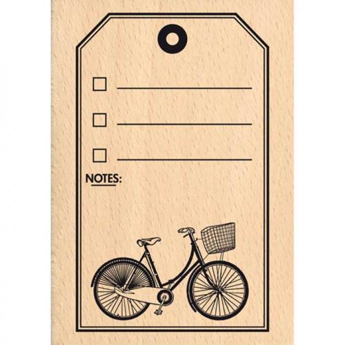Evasion estivale - Tampon Bois - Tag Vélo - 7 x 10 cm