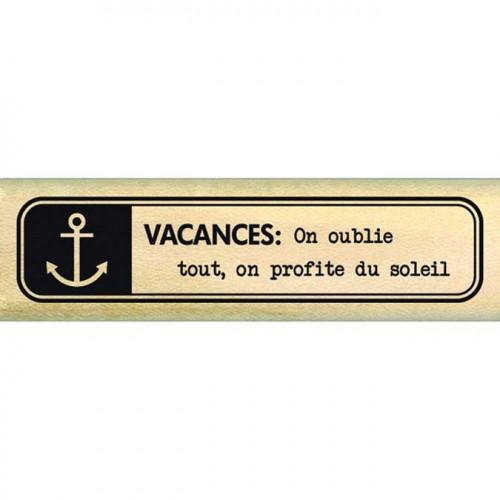 Evasion estivale - Tampon Bois - Etiquette marine - 2 x 7 cm