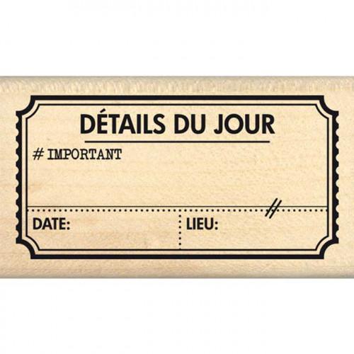 Evasion estivale - Tampon Bois - Ticket coupon vacances - 4 x 7 cm