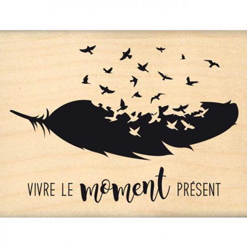 Envolée poétique - Tampon Bois - Moment présent - 6 x 8 cm