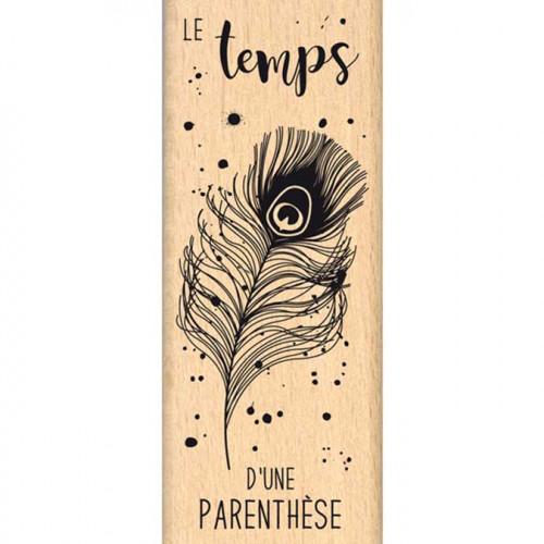 Envolée poétique - Tampon Bois - Plume de paon - 4 x 10 cm