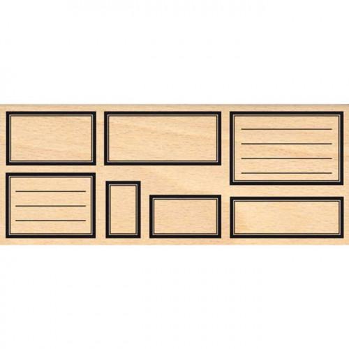 Histoire naturelle - Tampon Bois - Sept étiquettes rectangles - 6 x 15 cm