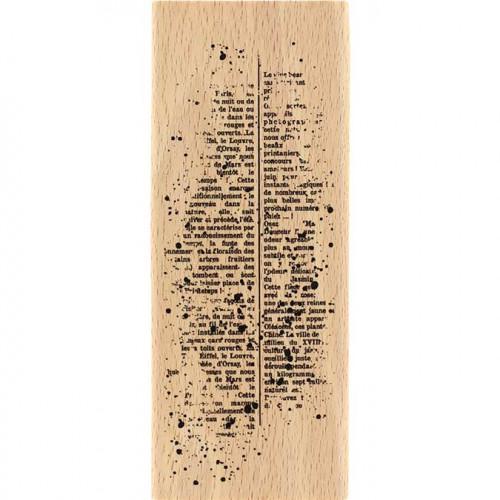 Capsule Septembre 2017 - Tampon bois - Texte moucheté - 6 x 15 cm
