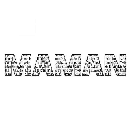 Tampon bois Je t'aime Maman - 10 x 2,6 cm