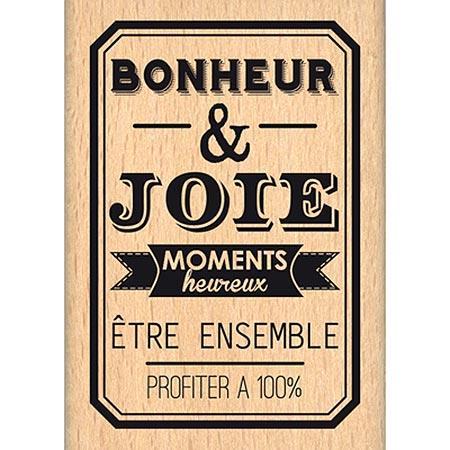 Border Line - Tampon Bois - Bonheur et Joie - 4,3 x 6,4 cm