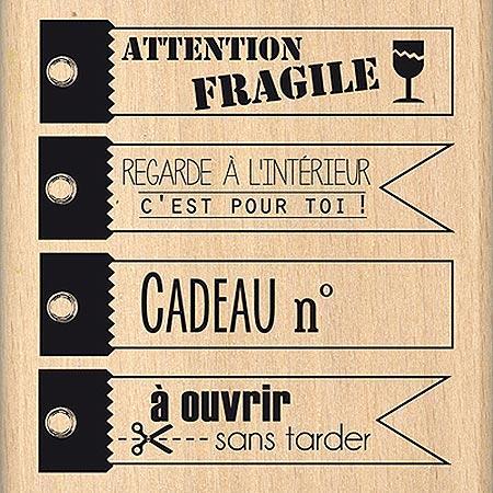 Du Fond du Cœur - Tampon Bois - A Ouvrir Sans Tarder - 6.5 x 7.3 cm