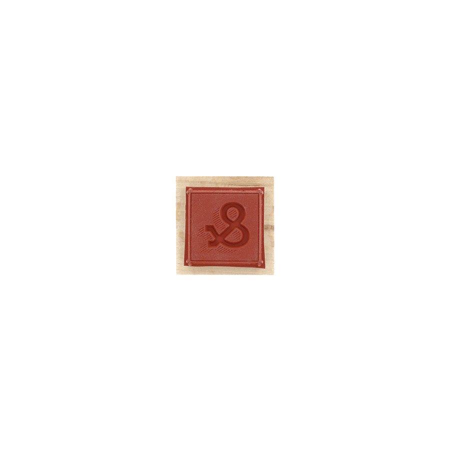 Tampon bois Carré esperluette - 4 x 4 cm
