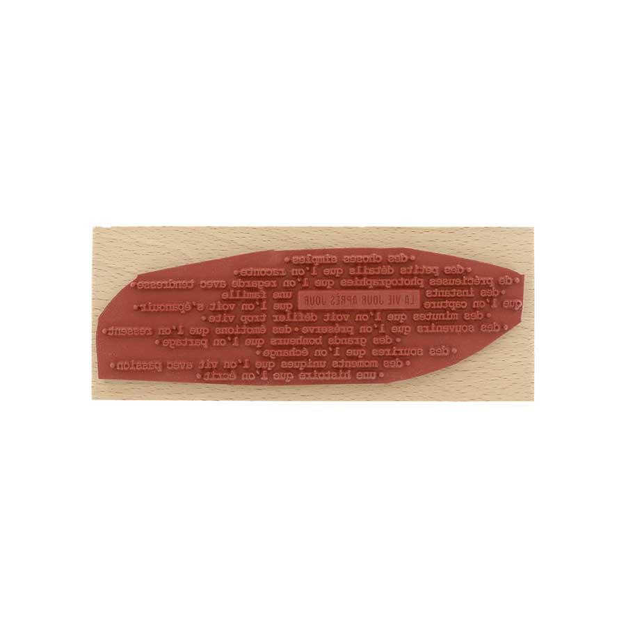 Tampon bois La vie qui défile - 15 x 6 cm