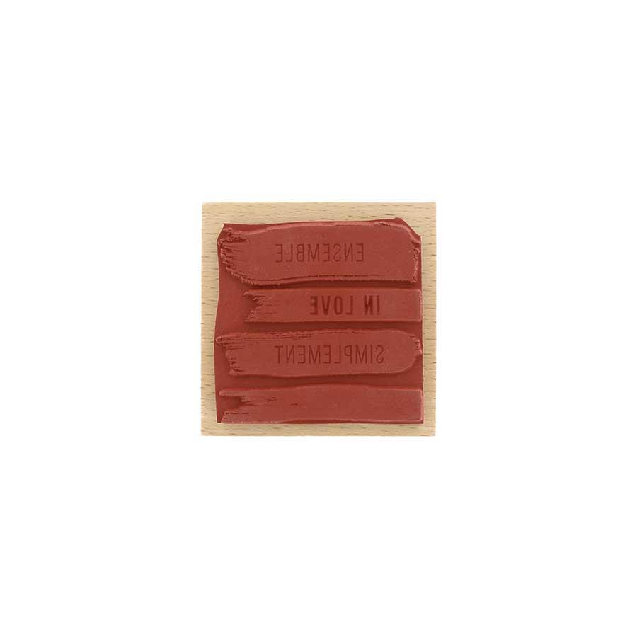 Tampon bois Quatre traces - 7 x 7 cm