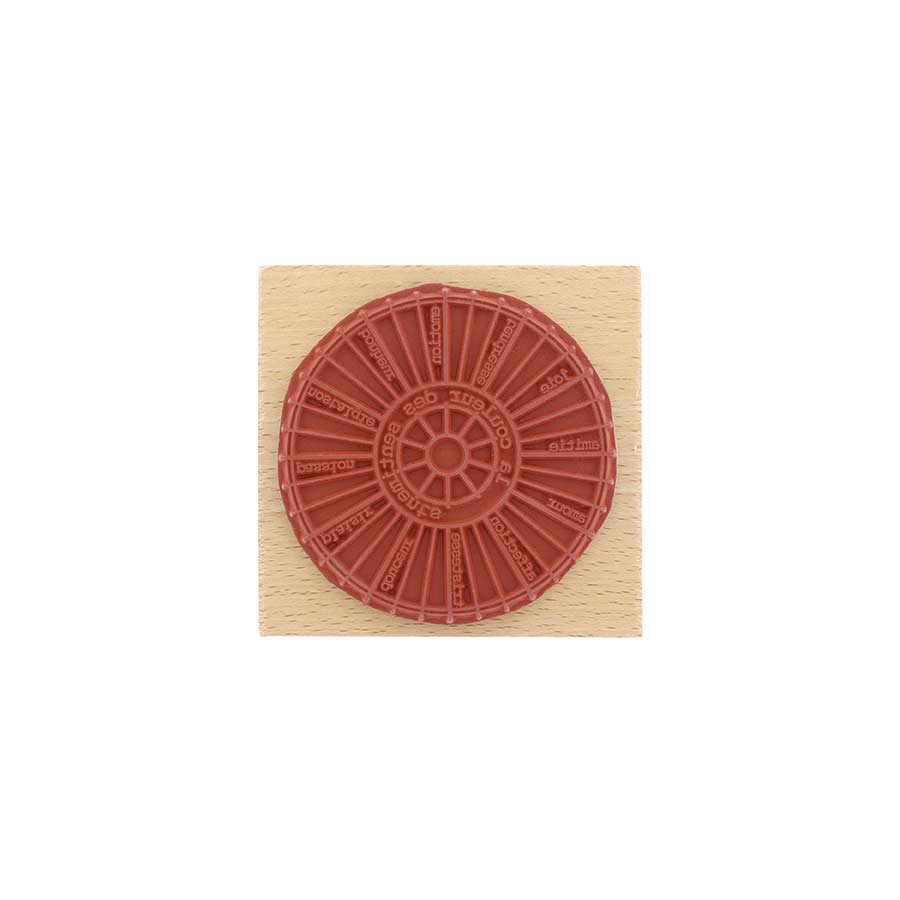 Tampon bois Roue chromatique - 8 x 8 cm