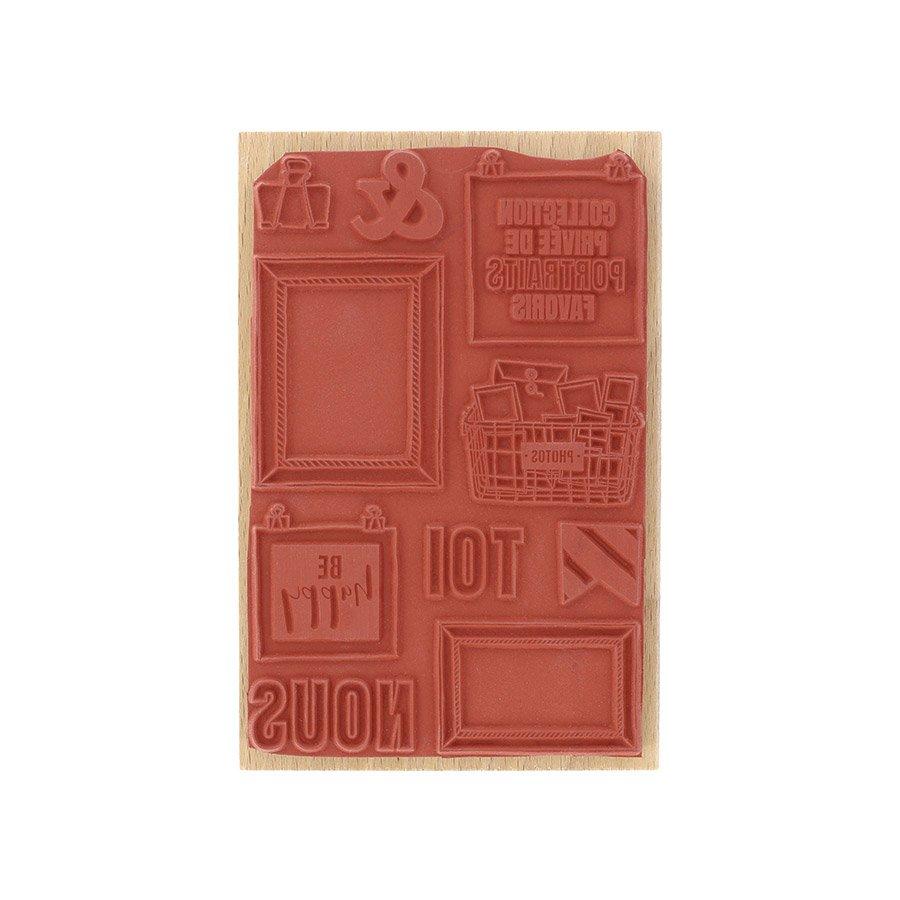Tampon bois Photos souvenirs - 10 x 15 cm