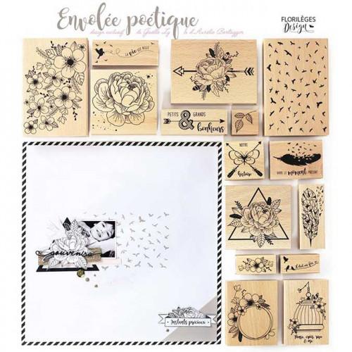 Envolée poétique - Tampon Bois - Bannière florale - 7 x 10 cm